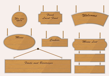 Wooden Blank Banner Sign Vintage Vector - бесплатный vector #424761