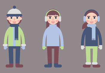 Kids in Winter Coat Vectors - Free vector #424961
