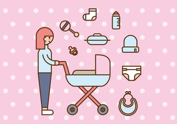 Pink Babysitter or Mom and Baby Vectors - Free vector #425001