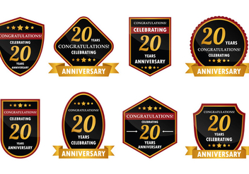 20 Year Anniversary Badge Vector - бесплатный vector #425061