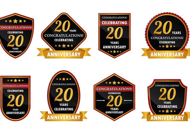 20 Year Anniversary Badge Vector - Kostenloses vector #425061