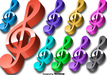 Vector 3D Colorful Violin Key Icon Set - vector gratuit #425071