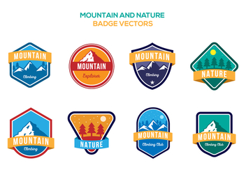 Free Mountain and Nature Badge Vectors - Free vector #425171