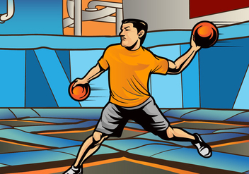 Indoor Dodgeball Player Vector - Free vector #425301