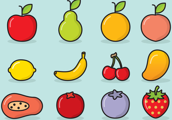 Cute Fruit Icons - Free vector #425321