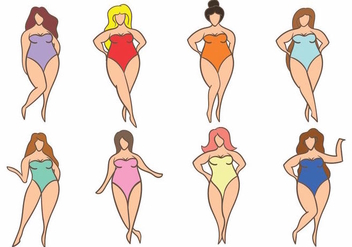 Simple Woman Plus Size Icon Set - Free vector #425351