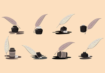 Inkwell and Pen Feather Vector - Free vector #425451