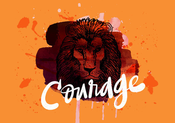 Courage Lion Watercolor - Free vector #425471
