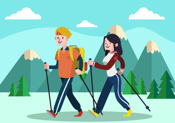 Nordic Walking Flat Vector illustration - Free vector #425761