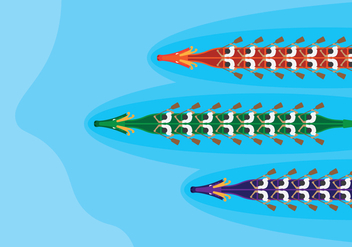 Dragon Boats Top View Racing - vector gratuit #425871