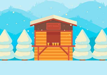 Hot Drinks Shop In Snow - Free vector #425891