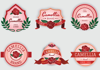 Camellia flowers pink label vector - бесплатный vector #426111