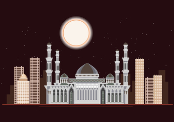 Hazrat Sultan Mosque at Night - vector gratuit #426231