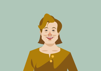 Headshot of Smiling Older Lady Vector - vector gratuit #426241