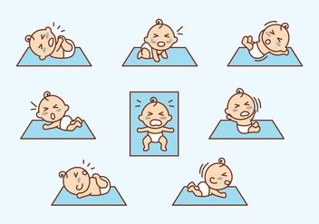 Cartoon Flat Crying Baby Vector - Free vector #426271