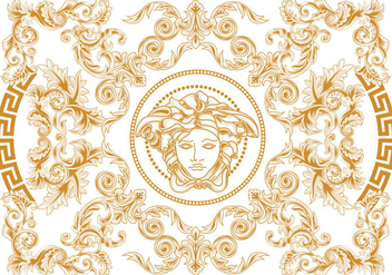 Modern Elegant Abstract Geometric Swirl and Carving Vector Versace Style - vector gratuit #426351