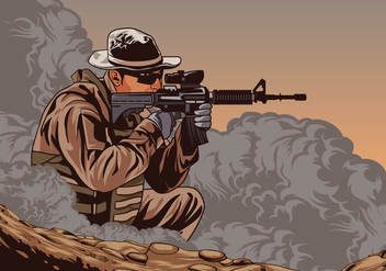 Soldier With Ar15 Vector - Free vector #426361