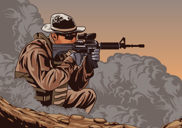 Soldier With Ar15 Vector - бесплатный vector #426361
