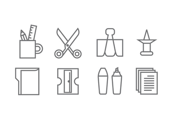 Stationery and Office Supply Icons - vector #426391 gratis