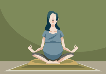 Beautiful Pregnant Woman Doing Pregnant Yoga Vector - Free vector #426421