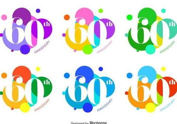 Bright and Bubble 60th Vector Badges - Free vector #426501