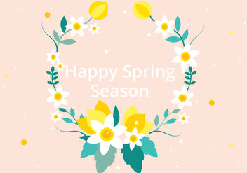 Free Vector Spring Flower Wreath - Kostenloses vector #426681