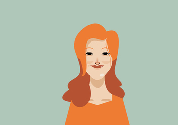 Headshot of Smiling Women With Orange Dress Vector - Free vector #426721