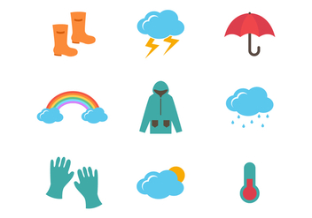 Weather and Monsoon Vector Icons - Free vector #426821