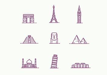 Outline Landmarks Icons - vector #427061 gratis