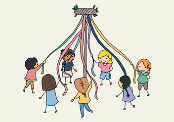Kids With A Maypole - Free vector #427121
