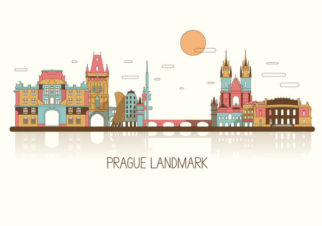 Prague Colorful Skyline Vector - Free vector #427211