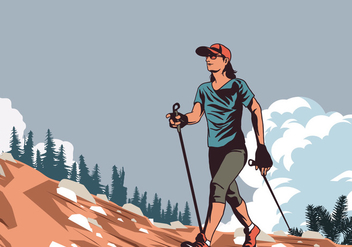 Nordic Walking Woman In Nature Vector - Kostenloses vector #427271