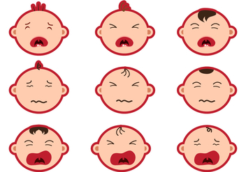 Crying Baby Face Sticker Vectors - Free vector #427301
