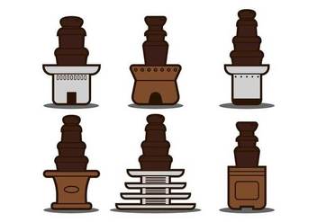 Chocolate fountain illustration set - vector gratuit #427321