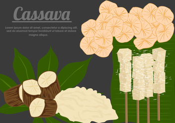Cassava Root With Cassava Food Vectors - Free vector #427341