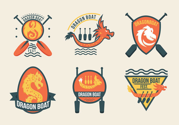 Dragon Boat Festival Event Labels - vector gratuit #427421
