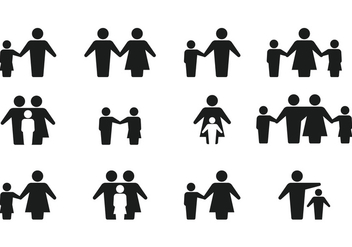 Simple Silhouette Family Icon Vectors - Kostenloses vector #427431