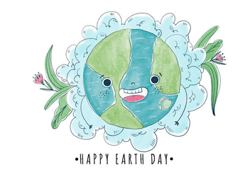 Cute And Happy Cartoon World With Flowers Earth Day - vector gratuit #427441