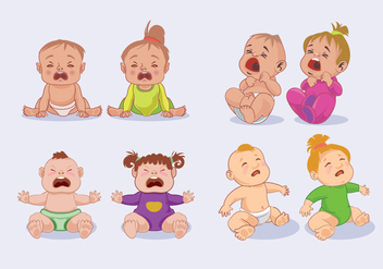Little Baby Boy and Baby Girls Crying - Free vector #427451