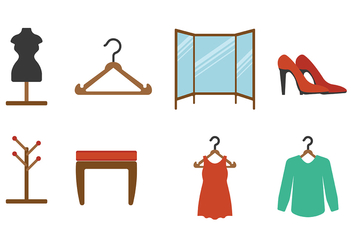 Dressing Room Flat Icon Vectors - Free vector #427501