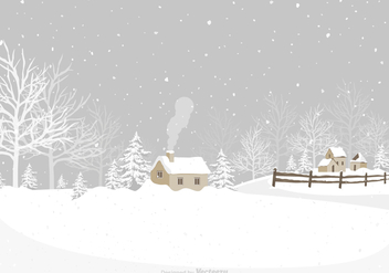Winter Village Vector Background - vector gratuit #427521