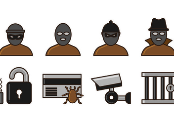 Set Of Theft Icon Vectors - Free vector #427571