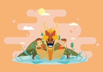 Fun Dragon Boat Race Illustration - Free vector #427681