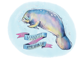 Colorful Manatee Appreciation Background with Ribbon And Lettering Watercolor Style - бесплатный vector #427711