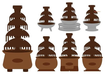 Chocolate fountain illustration set - vector gratuit #427771