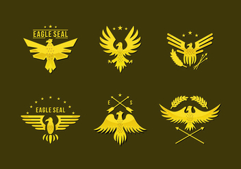 Gold Pin Eagle Seal Logo Flat Vector - vector gratuit #427801