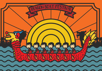 Dragon Boat Festival Illustration Vector - Kostenloses vector #427821