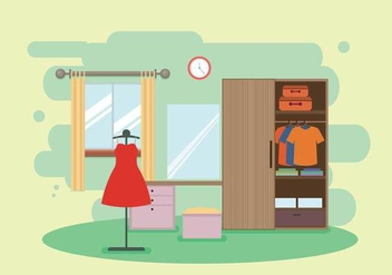 Modern Wood Wardrobe in Dressing Room Illustration - Free vector #427831