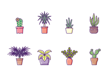 Houseplants Icon Set - Kostenloses vector #428001