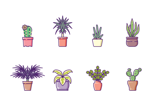 Houseplants Icon Set - vector #428001 gratis